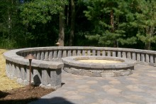 Balistered Seatwalls with Matching Firepit