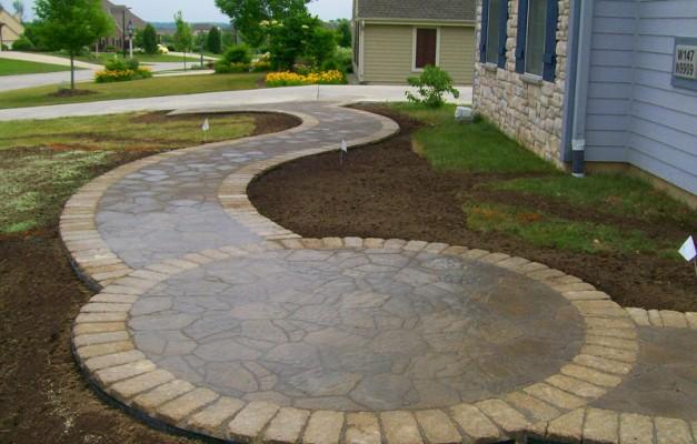 Curvy Walkway with Circular Patio